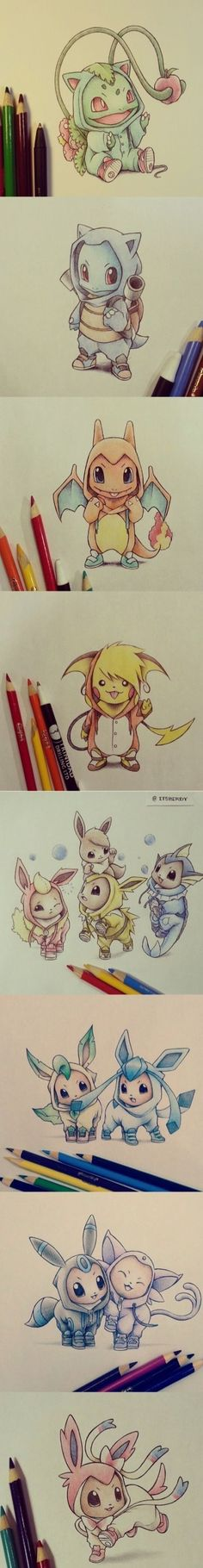 Pokemon in onesies of their evolutions! See source for artist!>> I dnt like pokemon but this is too cute! Pokemon Tattoo, Pokemon Fan, Charmander Tattoo, Pokemon Mignon, Chibi, Anime Kawaii, Digimon, Nerdy, Anime Art