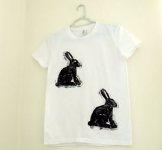 Hare Print T-Shirt - Rabbit Quirky Black & White Womens Top - Hand Printed - Fun and Cute Cotton T Shirt - Under 15 Pounds. £18.00, via Etsy.