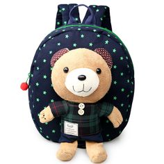 6b2de7124c 2017 Canvas Boys Girls School Drawstring Backpack for Teenagers Bags With  Plush Bear Walking Toddler Rucksack Mochila B0004-in Backpacks from Luggage    Bags ...