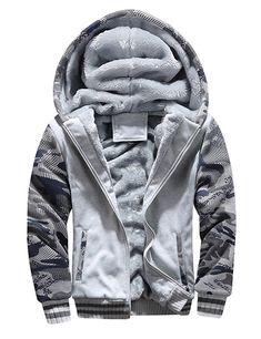d3c9392434b D.B.M Men's Winter Plus Velvet Padded Zipper Hooded Warm Sweater Jacket