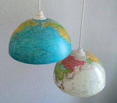 upcycled old world globe diy repurposed indoor hanging lights decoration