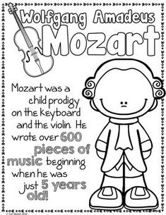 Classical Composers Coloring and Fact Sheets Classical Composers Coloring and Fact Sheets Elementary Music Lessons, Music Lessons For Kids, Music Lesson Plans, Music For Kids, Music Activities For Kids, Preschool Music, Teaching Music, Movement Activities, Piano Music