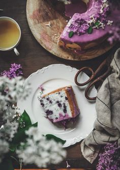 Blueberry Lavender Angel Food Cake - The Kitchen McCabe Dot Cakes, Angel Food Cake, Cake Ingredients, Let Them Eat Cake, Just Desserts, Cake Recipes, Sweet Tooth, Food Photography, Sweet Treats
