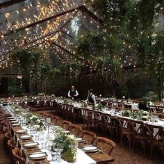 Clear tent and string light dining wedding reception set up. I'd like to pho… Clear tent and string light dining wedding reception set up. I'd like to photograph more of these types of weddings! Wedding Goals, Our Wedding, Wedding Planning, Dream Wedding, Forest Wedding Reception, Wedding Ceremony, Magical Wedding, Wedding In Forest, Enchanted Forest Wedding