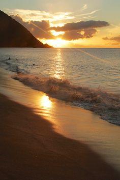 Sunset at Grande Anse beach, Guadeloupe