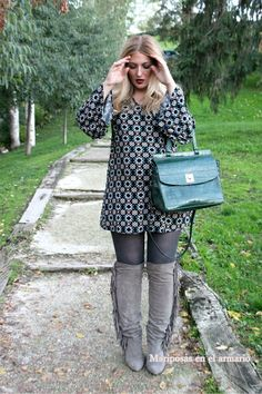 Mariposas en el armario: Vestido mini + botas mosqueteras, tendencia que me sigue conquistando...