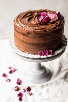 Coconut Banana Cake with Chocolate Frosting | halfbakedharvest.com #Easter #cake #chocolate #spring