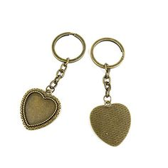 100 PCS Keyrings Keychains Key Ring Chains Tags Jewelry Findings Clasps Buckles Supplies R7PH5 Heart Cabochon Frame Blanks 25MM * Check out the image by visiting the link.