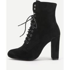 SheIn(sheinside) Lace Up High Heeled Ankle Boots ($37) ❤ liked on Polyvore featuring shoes, boots, ankle booties, black, black laced booties, black high heel boots, chunky black booties, black ankle bootie and lace-up booties