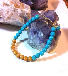 Solar Plexus Chakra  Aragonite and Turquoise by AlisonsGemstones