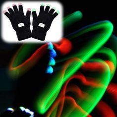 LED Rave Flashing Gloves Glow 7 Mode Light Up Finger Lighting Black