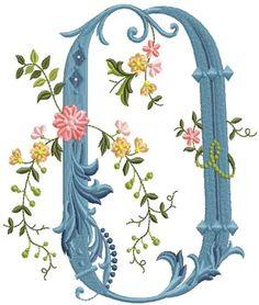alfabeto celeste con flores O