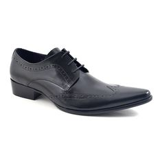 Need pointed toe black derby shoes? These have a wing tip and are crafted in fine leather. Gucinari has choice, style and only £89.95. Free delivery.