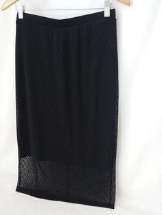Bobeau Black Lace Stretch Mid-Calf Skirt Size Small S Elastic Waist #Bobeau #StretchKnit #Lace Skirt