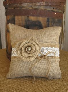 Ring Pillow Burlap Ring Bearer Pillow by TheShabbyChicWedding