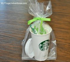 starbucks gift card gift ideas. Love the idea pictured! Right now Starbucks sells reusable cups (as shown in picture) for $1 each, plus a gift card and you have a wonderful gift!