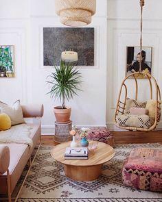 boho patterned living room