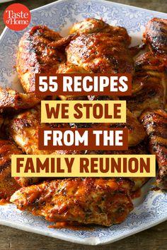 55 Recipes We Stole from the Family Reunion - Cooking Recipes Cooking For A Crowd, Food For A Crowd, Meals For A Crowd, Family Reunion Food, Family Reunions, Carpaccio, Bratwurst, Vintage Recipes, Retro Recipes