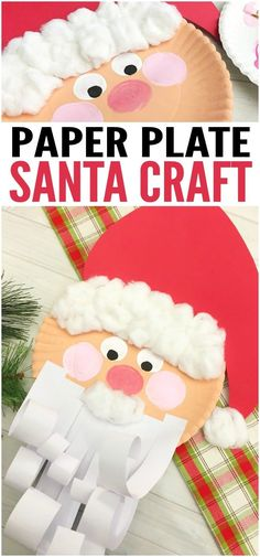 Jolly Santa Paper Plate Craft - Easy Peasy and Fun Christmas Arts And Crafts, Santa Crafts, Preschool Christmas, Noel Christmas, Christmas Projects, Holiday Crafts, Holiday Fun, Paper Plate Crafts, Paper Plates