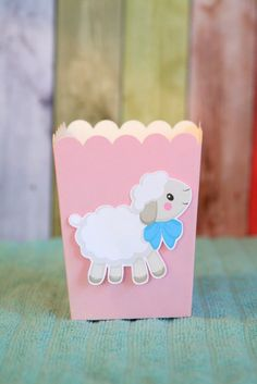 Little Lamb Baby Shower Snack Boxes Favor by PaperPartyParade