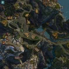 Village in the hills - Free Pathfinder Maps, Underground Caves, Dungeon Maps, Fantasy Map, Cool Things To Make, City Photo, Nature, Star Wars, Naturaleza