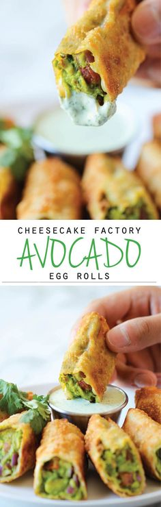 Cheesecake Factory Avocado Egg Rolls- I have never tried them but everything about this sounds yummy! Cheesecake factory copycat recipe for avacado egg rolls. Think Food, I Love Food, Good Food, Yummy Food, Tasty, Yummy Veggie, Avocado Egg Rolls, Vegetarian Egg Rolls, Vegetable Egg Rolls