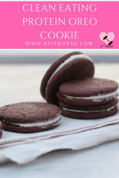 Ingredients: For the cookie: 2 tbsp of cocoa powder 2 tbsp of Chocolate Shakeology 2 tbsp of almond butter 2 tbsp of ma. Protein Cookies, Protein Snacks, Oreo Cookies, Healthy Treats, Easy Healthy Recipes, Healthy Foods, Clean Eating Sweets, Clean Eating Recipes, Oreo Cookie Recipes