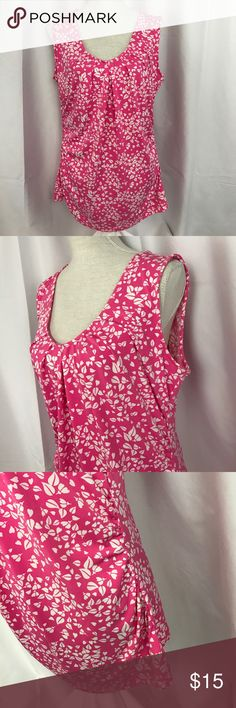 NWT New York & Co. pink/white ruched v-neck tank NWT New York & Co. pink/white ruched v-neck szXL  tank top... New York & Company Tops Tank Tops