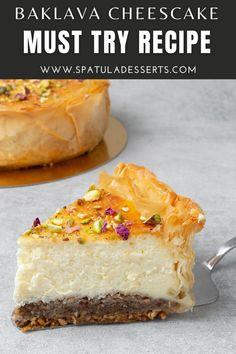 Baklava Cheesecake, Best Cheesecake, Easy Cheesecake Recipes, Dessert Recipes, Layer Cheesecake, Birthday Cheesecake, Pastry Recipes, Baking Recipes, Just Desserts