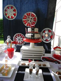 Cars Party Hub caps, auto parts, steel appeal boy party decoration ideas. Car Themed Parties, Cars Birthday Parties, Boy Birthday, Birthday Ideas, Happy Birthday, Festa Hot Wheels, Hot Wheels Party, Ferrari Party, Disney Cars Party