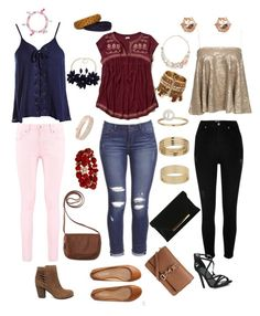 """""""3 outfits"""" by jenny-har on Polyvore featuring Boohoo, Sans Souci, Hollister Co., River Island, Aéropostale, Steve Madden, Miss Selfridge, Mixit, Avon and Anne Klein"""