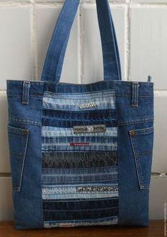 """Купить Сумка """"Деним"""" - тёмно-синий, в полоску, женская сумка, сумка для женщины, деним, джинса"""