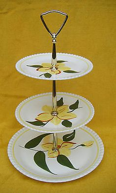 Southern-Pottery-Blue-Ridge-China-Vintage-Sungold-3-Tier-Cake-Stand-Tidbit-Tray