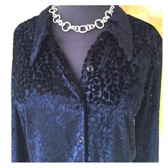 Black semi-sheer blouse with burn out leaf pattern A great dressy top with button front and semi sheer look. From a Las Vegas boutique. Burn out damask velvet. Excellent condition. Unique look! Marshall Rousso Tops Blouses