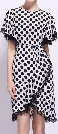 Black & White Polka Dot Lace-Trim Silk Dress