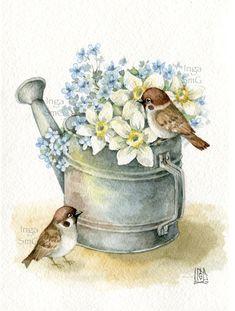 Pintura Country, Art Vintage, Vintage Birds, Art Floral, Cute Animal Drawings, Art Drawings, Watercolor Bird, Watercolor Paintings, Art Fantaisiste