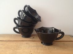Black Glass Teacups Mugs  Black Glass  by LillyQueenVintage