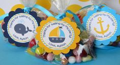 Nautical Birthday Party Favor Tags in Blue and Yellow.