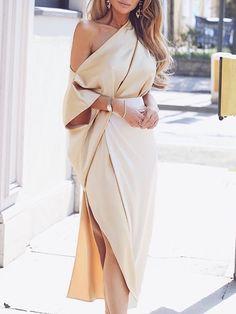 Women One Shoulder Elegant Formal Wrap Dress Side Slit Dress Plunge V Neck Dress Autumn Party Dresses Robe Long Vestidos Trend Fashion, Fashion Mode, Look Fashion, Feminine Fashion, Fashion Ideas, Fashion 2018, Fashion Night, Cheap Fashion, Fashion Styles