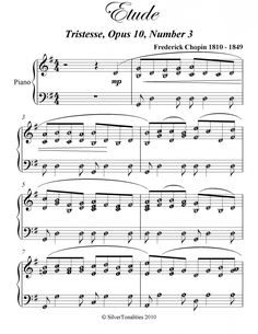 Etude Tristesse Op 10 No 3 Chopin Elementary Piano Sheet Music PDF