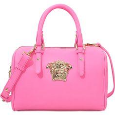 Versace PALAZZO SMALL BOWLING BAG ($980) ❤ liked on Polyvore featuring bags, handbags, pink, pink bag, bowler purse, pink purse, versace purses и pink handbags