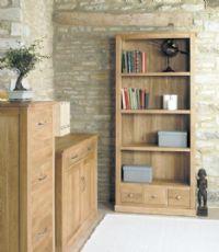 baumhaus mobel oak large 3 drawer bookcase cor01a