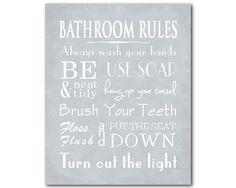 Bathroom Canvas Wall Art Word Rules Typography Kids