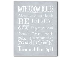 Beau Bathroom Rules Wall Art   Typography Word Art Print   Family Or Childu0027s Bathroom  Art   Room Decor   Wash Hands   Hang Up Your Towel Floss | Typography, ...