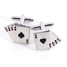 Rodium Plated Mens 4 Aces Poker Cufflinks-Executive Gift