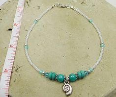 Anklet Ankle Bracelet Sea Shell Coil Charm by ABeadApartJewelry