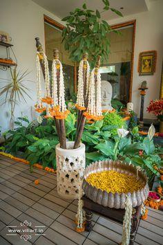 Haldi/ Pelli kotturu/ nelugu ceremony decor with rokali marigold decoration and ganesha photography www.villart.in