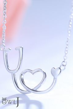 Sterling Silver Medical Stethoscope Heart Pendant Necklace