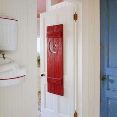 Full of Surprises Victorian Farmhouse, Country Farmhouse Decor, Modern Farmhouse, Red Farmhouse, Farmhouse Bathrooms, Bathroom Red, Bathroom Doors, Bathroom Ideas, Bathroom Wallpaper
