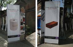 Promoción de teatros de Madrid. Presentación de la campaña en las Naves del Español. Señalización exterior (Matadero Madrid).